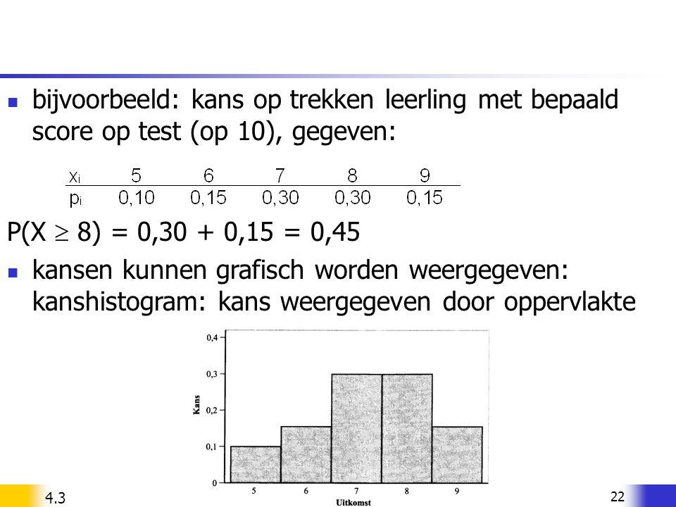 bijvoorbeeld: kans op trekken leerling met bepaald score op test (op 10), gegeven: