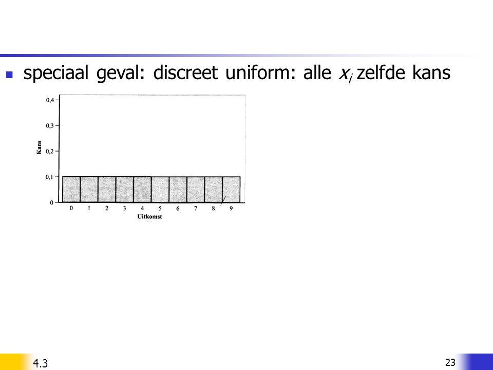 speciaal geval: discreet uniform: alle xi zelfde kans