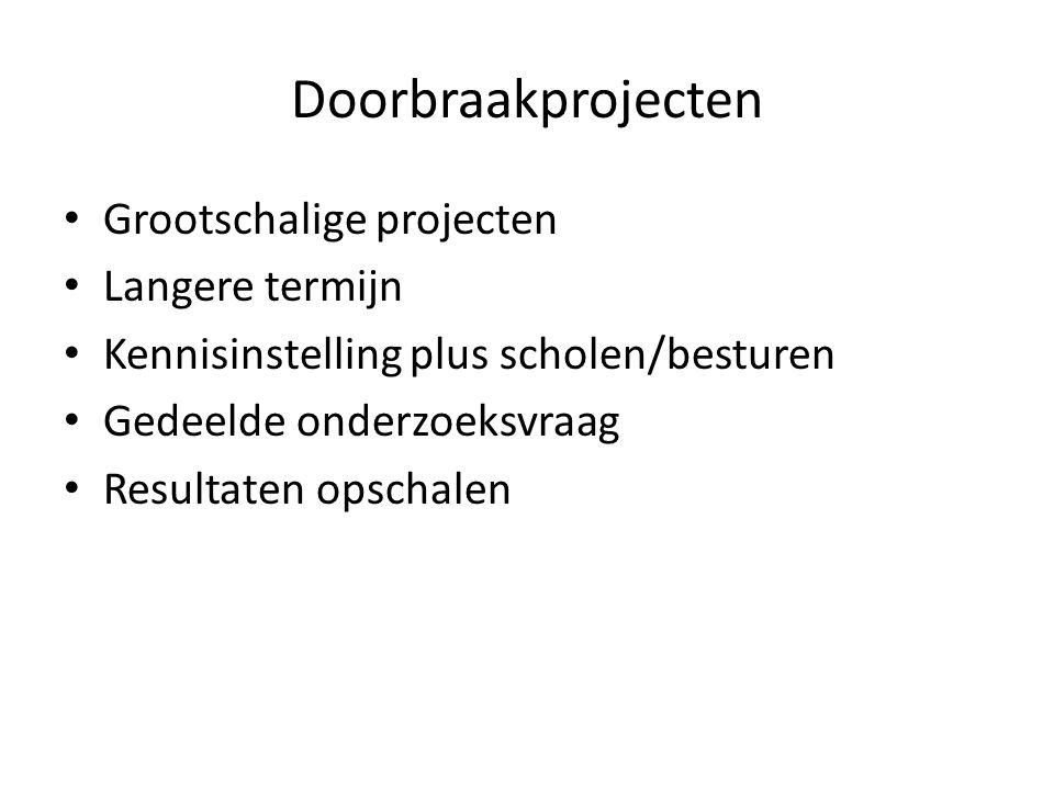 Doorbraakprojecten Grootschalige projecten Langere termijn