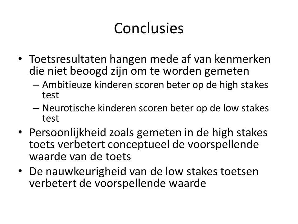 Conclusies Toetsresultaten hangen mede af van kenmerken die niet beoogd zijn om te worden gemeten.