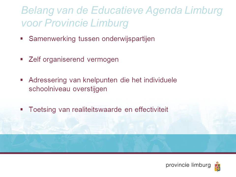 Belang van de Educatieve Agenda Limburg voor Provincie Limburg