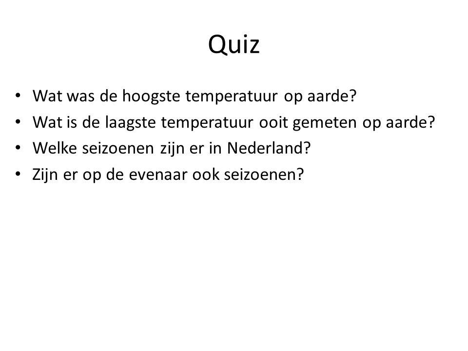 Quiz Wat was de hoogste temperatuur op aarde