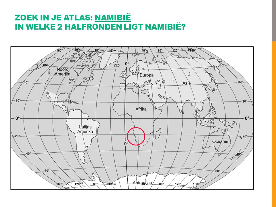 Zoek in je atlas: Namibië