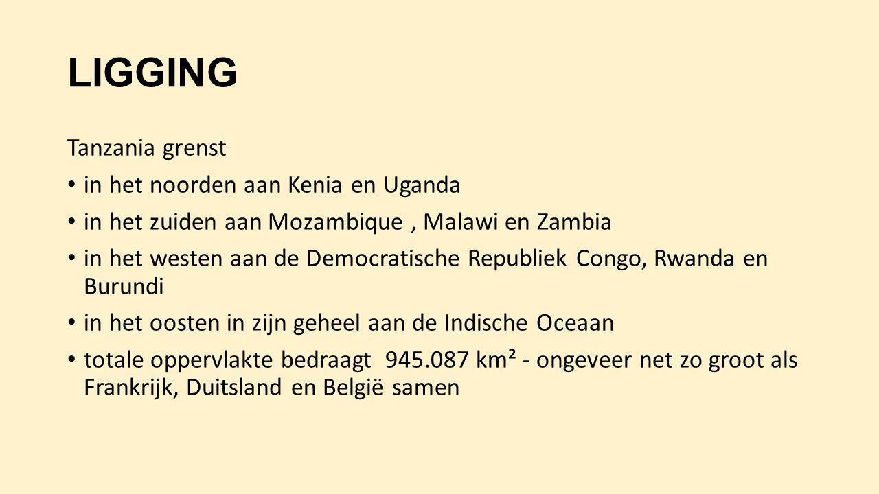 LIGGING Tanzania grenst in het noorden aan Kenia en Uganda