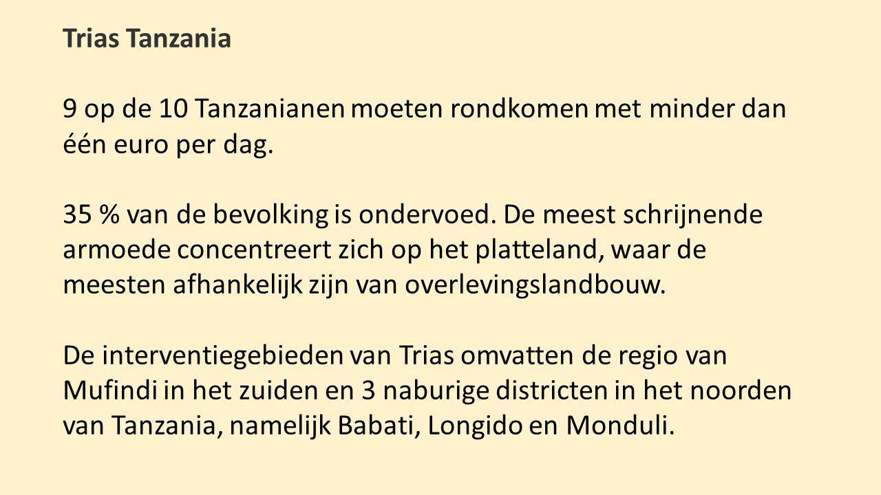 Trias Tanzania 9 op de 10 Tanzanianen moeten rondkomen met minder dan één euro per dag.