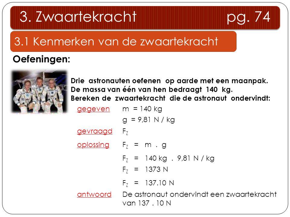 3. Zwaartekracht pg. 74 3.1 Kenmerken van de zwaartekracht Oefeningen: