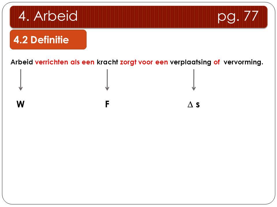 4. Arbeid pg. 77 4.2 Definitie W F  s