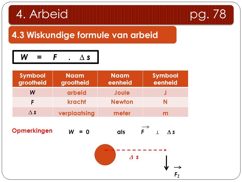 4. Arbeid pg. 78 4.3 Wiskundige formule van arbeid W = F .  s
