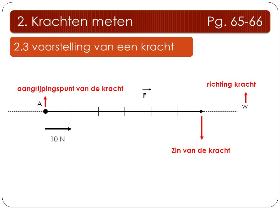 2. Krachten meten Pg. 65-66 2.3 voorstelling van een kracht