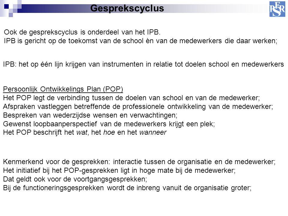 Gesprekscyclus Ook de gesprekscyclus is onderdeel van het IPB.
