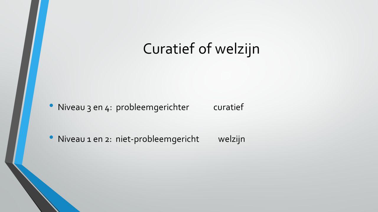 Curatief of welzijn Niveau 3 en 4: probleemgerichter curatief