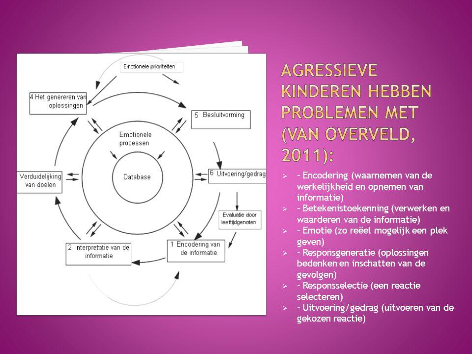 Agressieve kinderen hebben problemen met (Van Overveld, 2011):