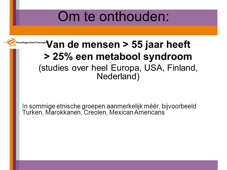 Van de mensen > 55 jaar heeft > 25% een metabool syndroom