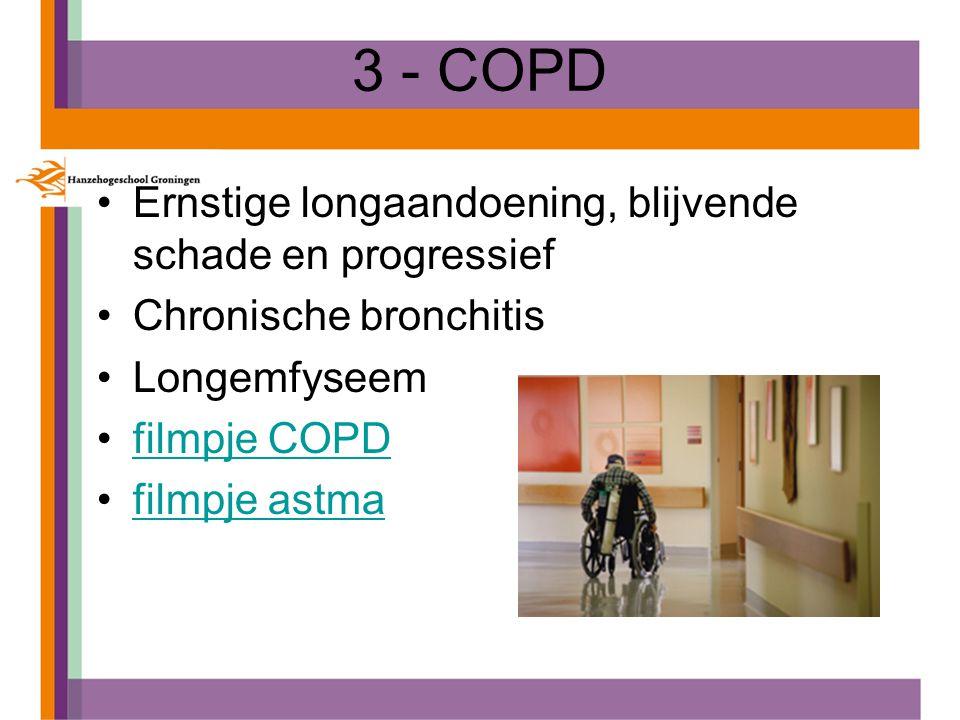 3 - COPD Ernstige longaandoening, blijvende schade en progressief