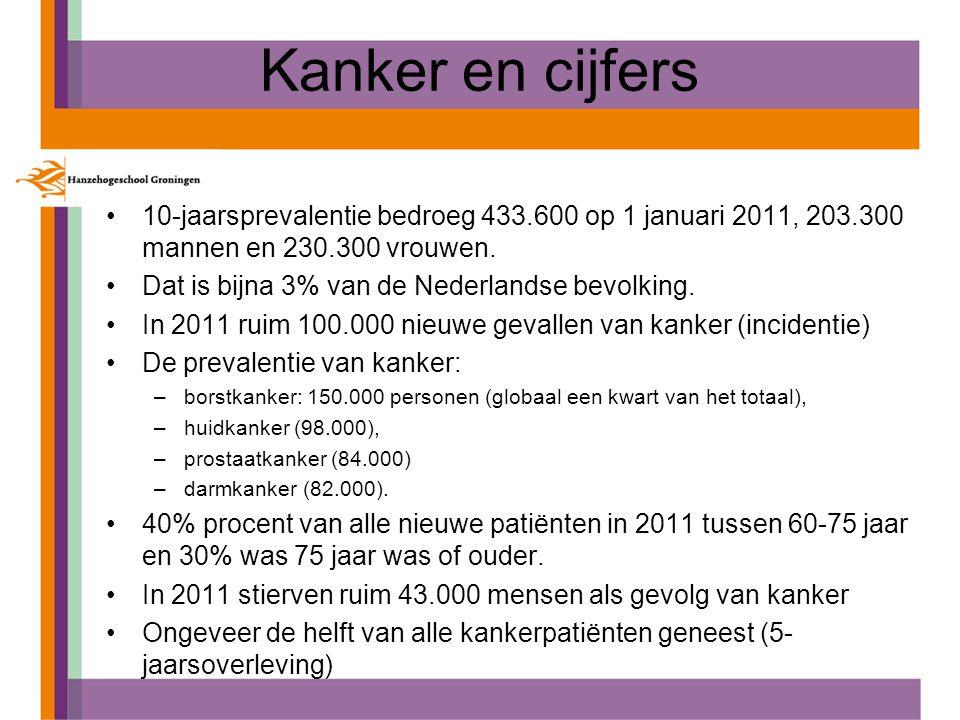 Kanker en cijfers 10-jaarsprevalentie bedroeg 433.600 op 1 januari 2011, 203.300 mannen en 230.300 vrouwen.