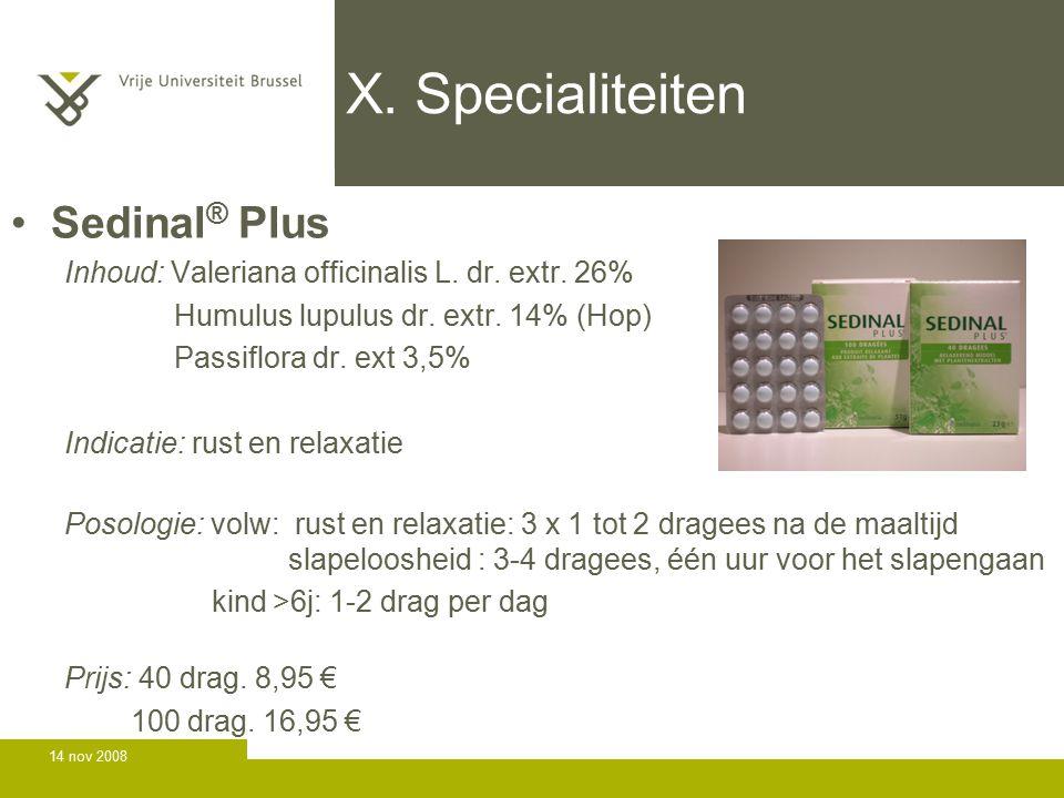 X. Specialiteiten Sedinal® Plus