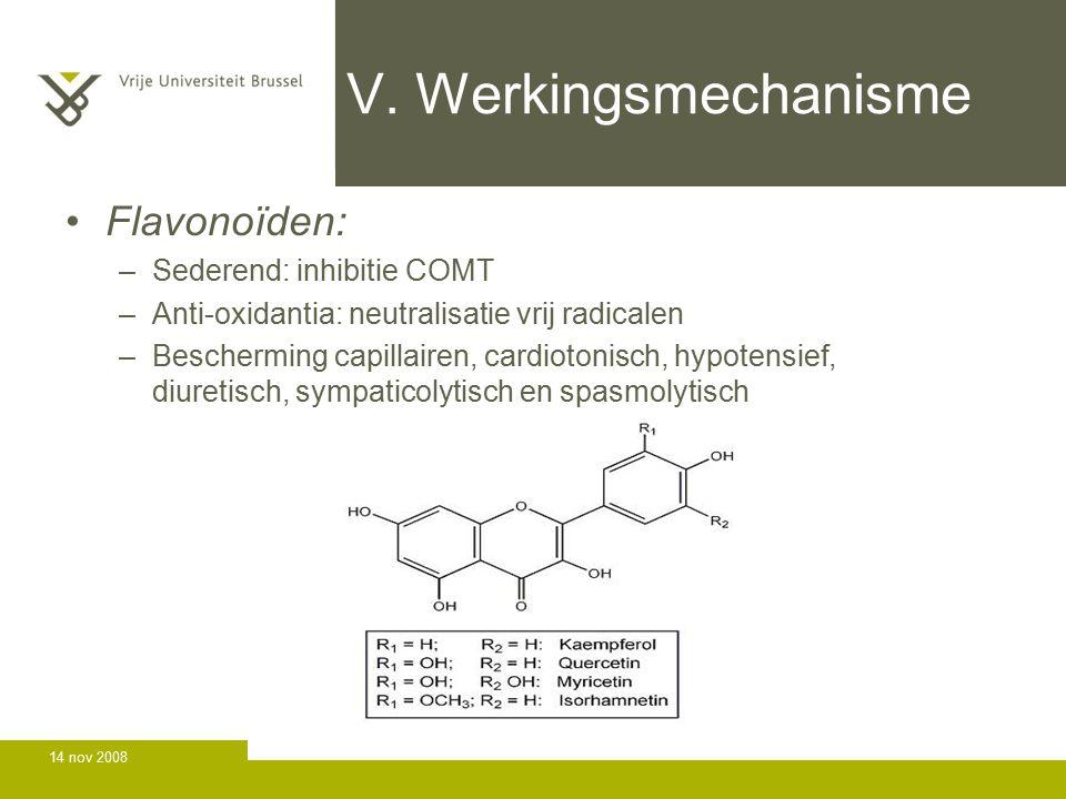 V. Werkingsmechanisme Flavonoïden: Sederend: inhibitie COMT