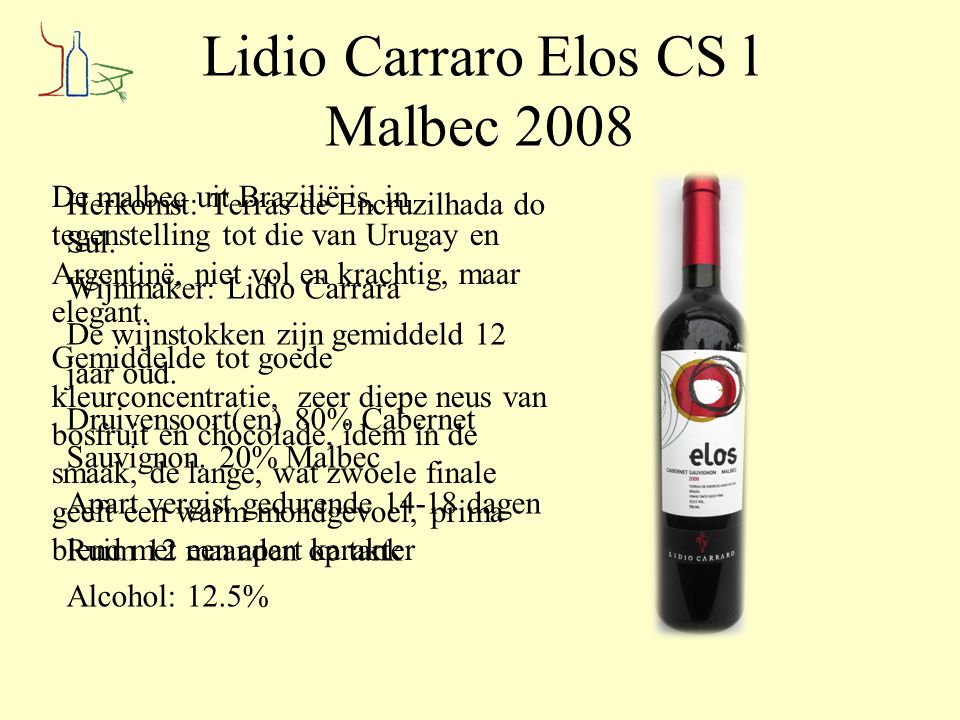 Lidio Carraro Elos CS l Malbec 2008