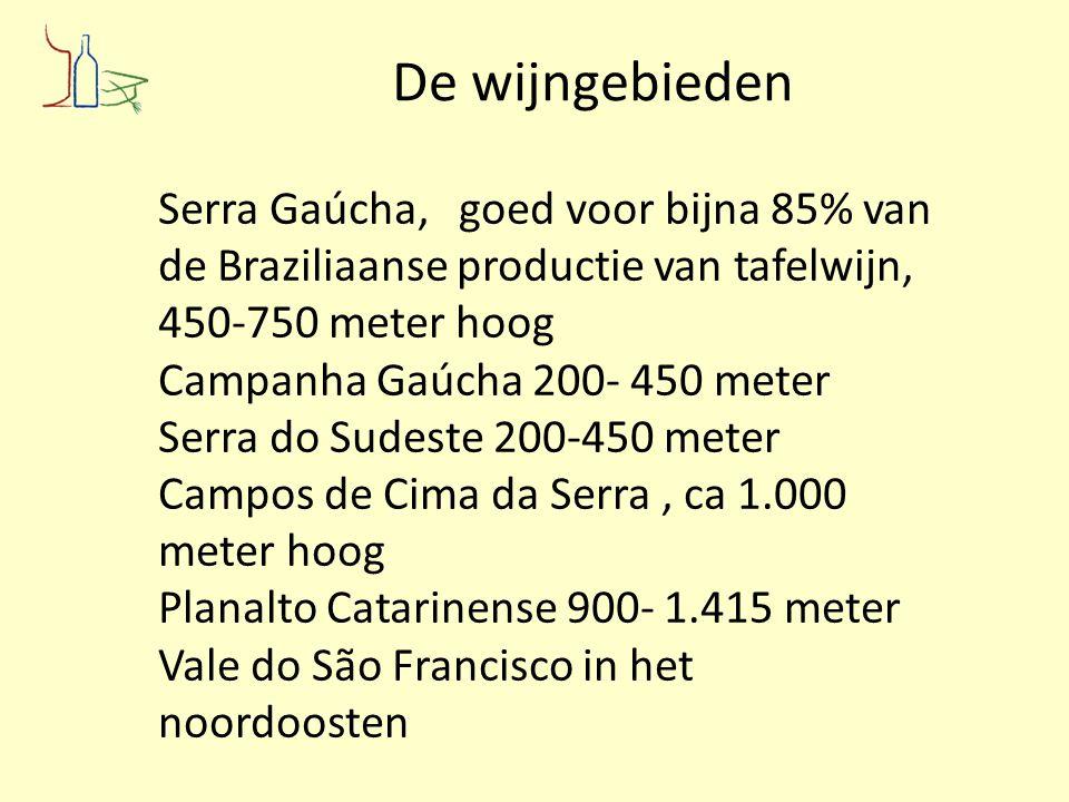 De wijngebieden Serra Gaúcha, goed voor bijna 85% van de Braziliaanse productie van tafelwijn, 450-750 meter hoog.