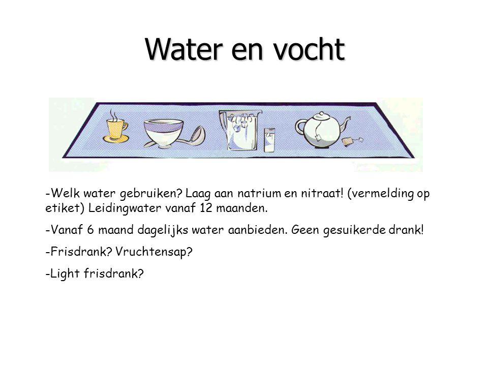 Water en vocht -Welk water gebruiken Laag aan natrium en nitraat! (vermelding op etiket) Leidingwater vanaf 12 maanden.