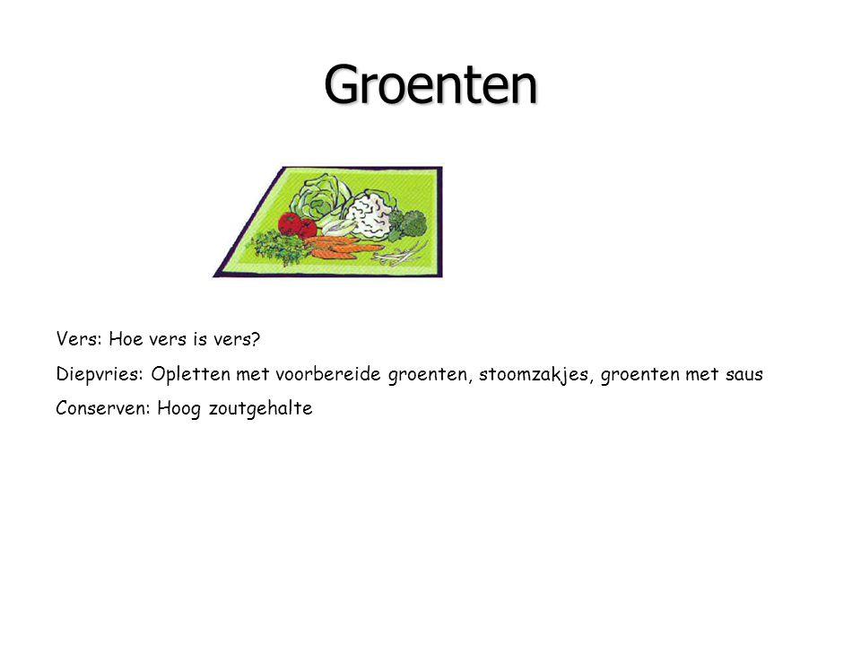 Groenten Bron van: vitaminen mineralen vezels Vers: Hoe vers is vers