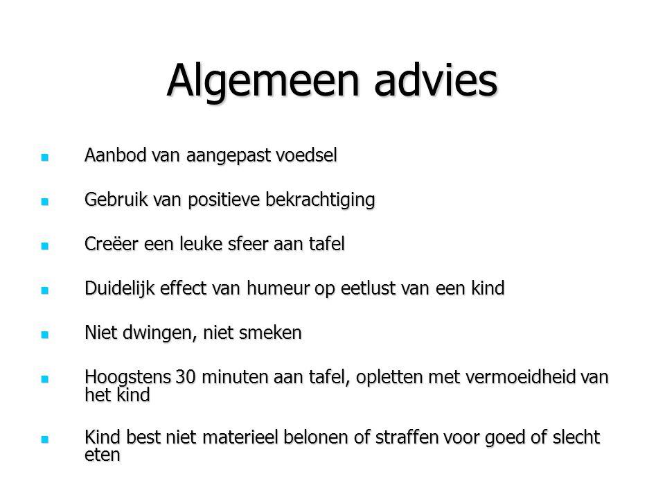 Algemeen advies Aanbod van aangepast voedsel