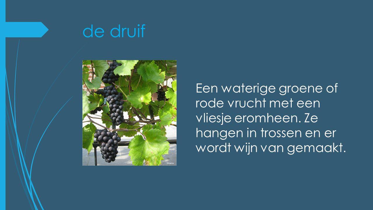 de druif Een waterige groene of rode vrucht met een vliesje eromheen.