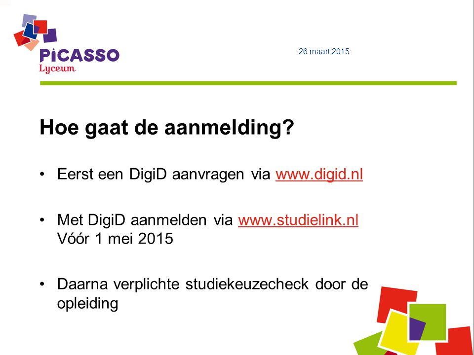 Hoe gaat de aanmelding Eerst een DigiD aanvragen via www.digid.nl