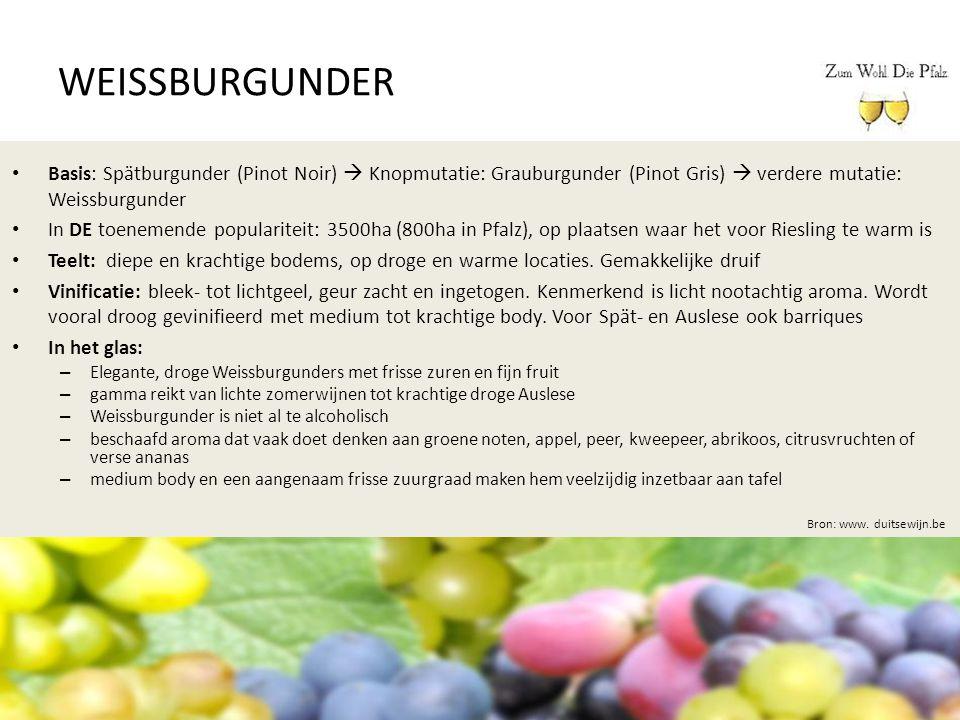 WEISSBURGUNDER Basis: Spätburgunder (Pinot Noir)  Knopmutatie: Grauburgunder (Pinot Gris)  verdere mutatie: Weissburgunder.