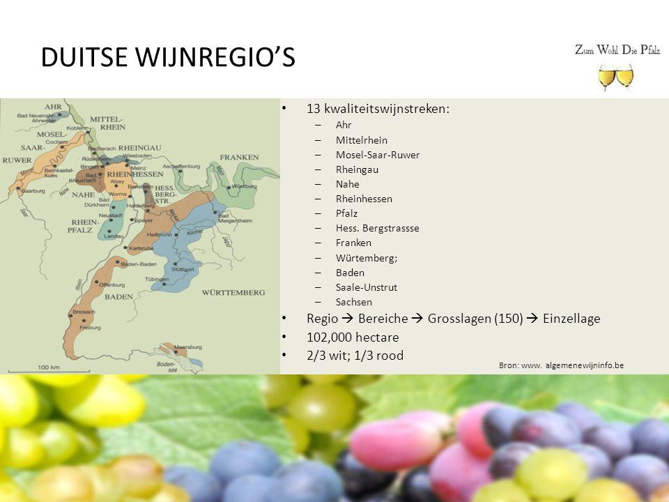 DUITSE WIJNREGIO'S 13 kwaliteitswijnstreken: