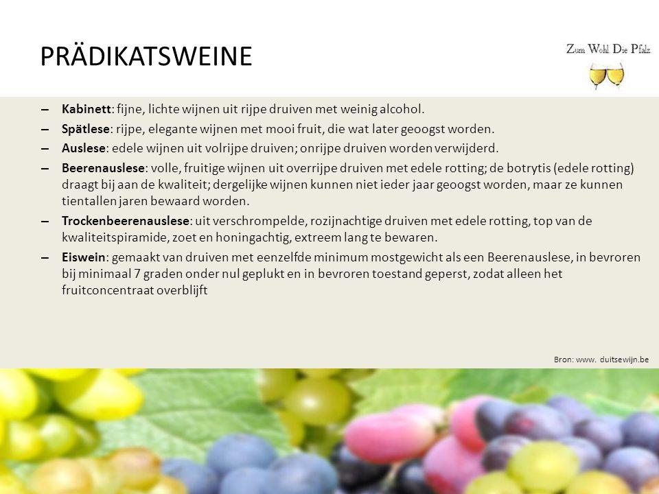 PRÄDIKATSWEINE Kabinett: fijne, lichte wijnen uit rijpe druiven met weinig alcohol.
