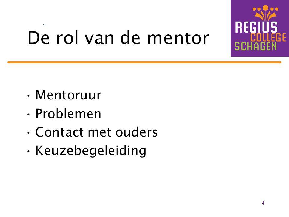 De rol van de mentor Mentoruur Problemen Contact met ouders