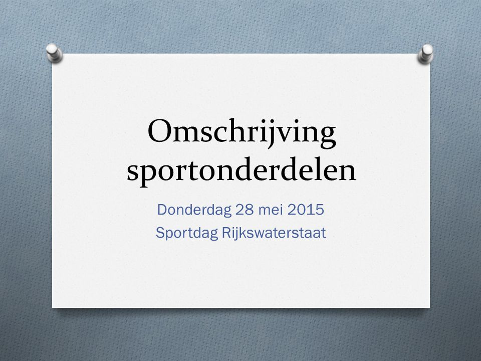 Omschrijving sportonderdelen