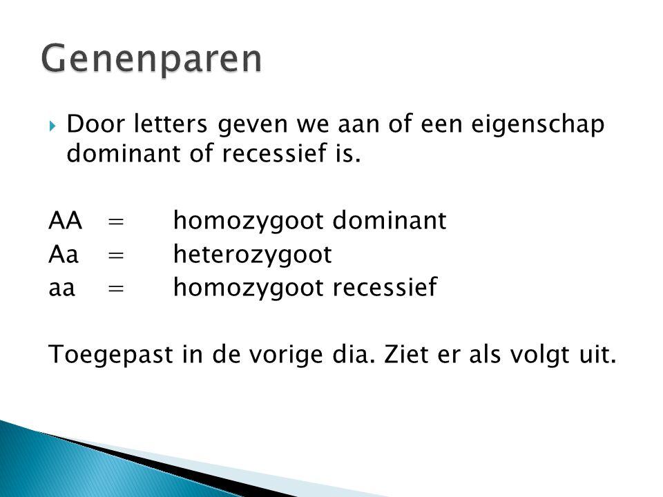 Genenparen Door letters geven we aan of een eigenschap dominant of recessief is. AA = homozygoot dominant.