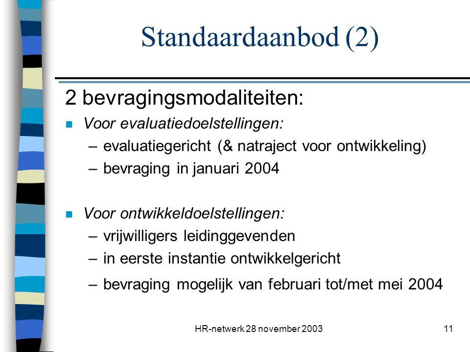 Standaardaanbod (2) 2 bevragingsmodaliteiten: