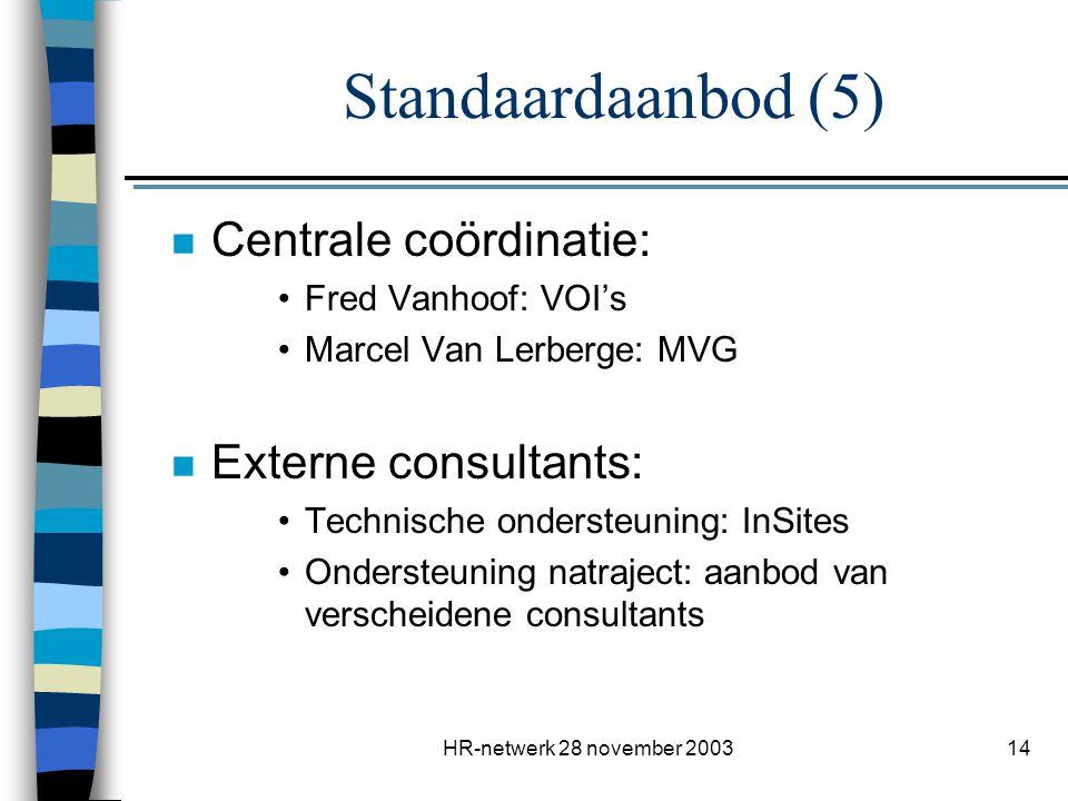 Standaardaanbod (5) Centrale coördinatie: Externe consultants: