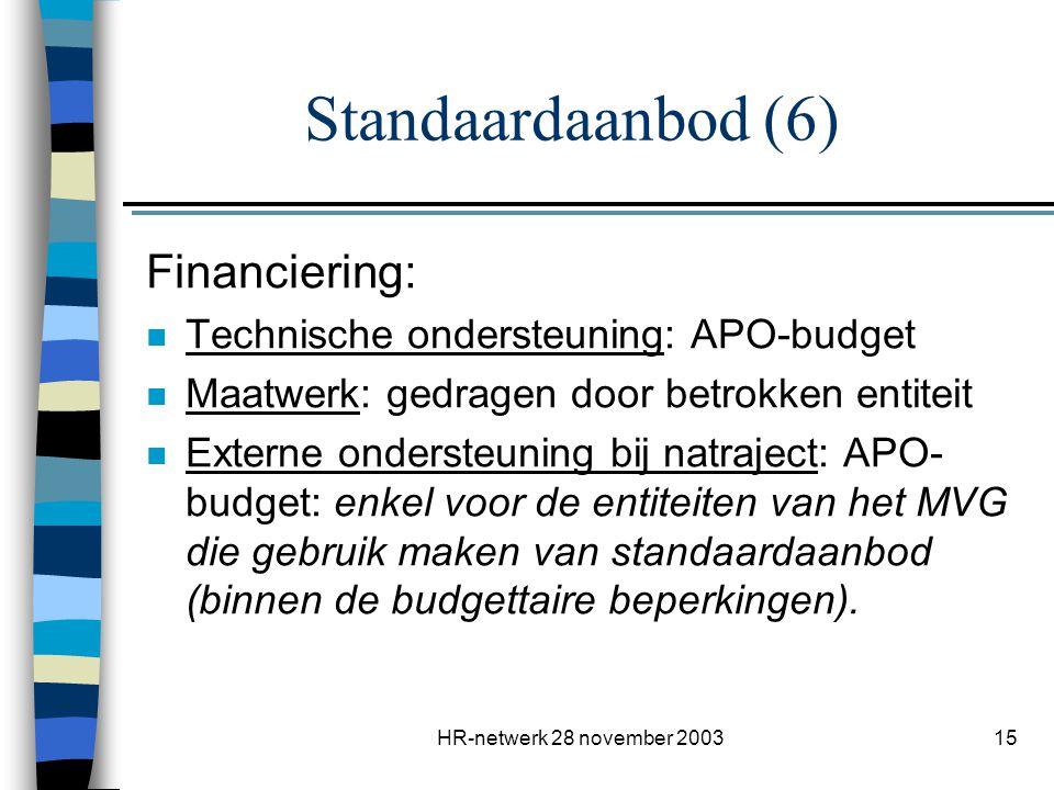 Standaardaanbod (6) Financiering: Technische ondersteuning: APO-budget