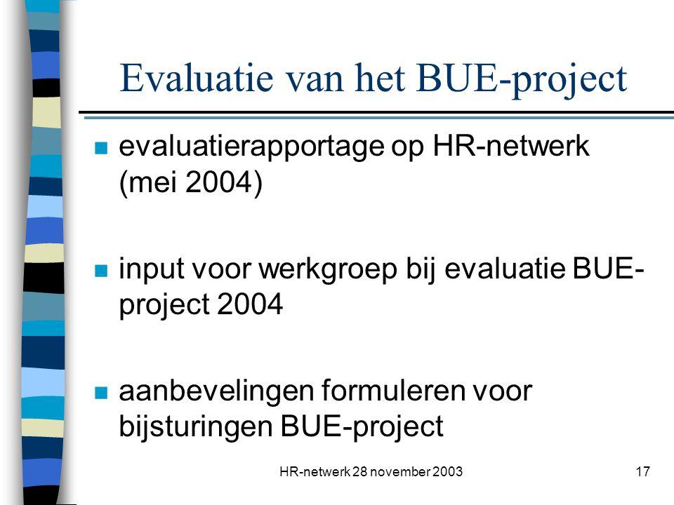 Evaluatie van het BUE-project