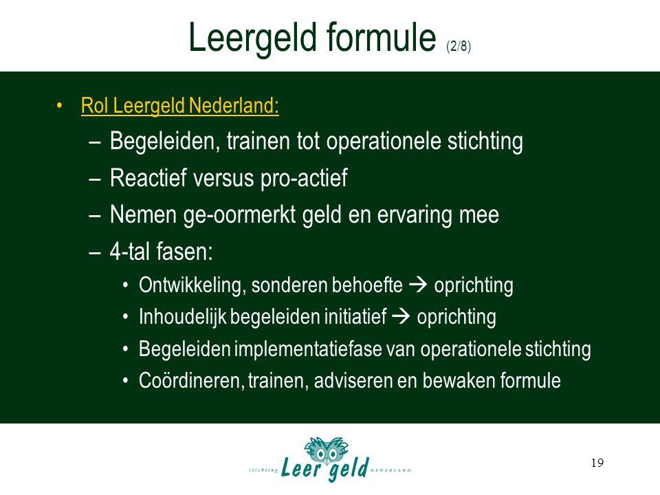 Leergeld formule (2/8) Begeleiden, trainen tot operationele stichting