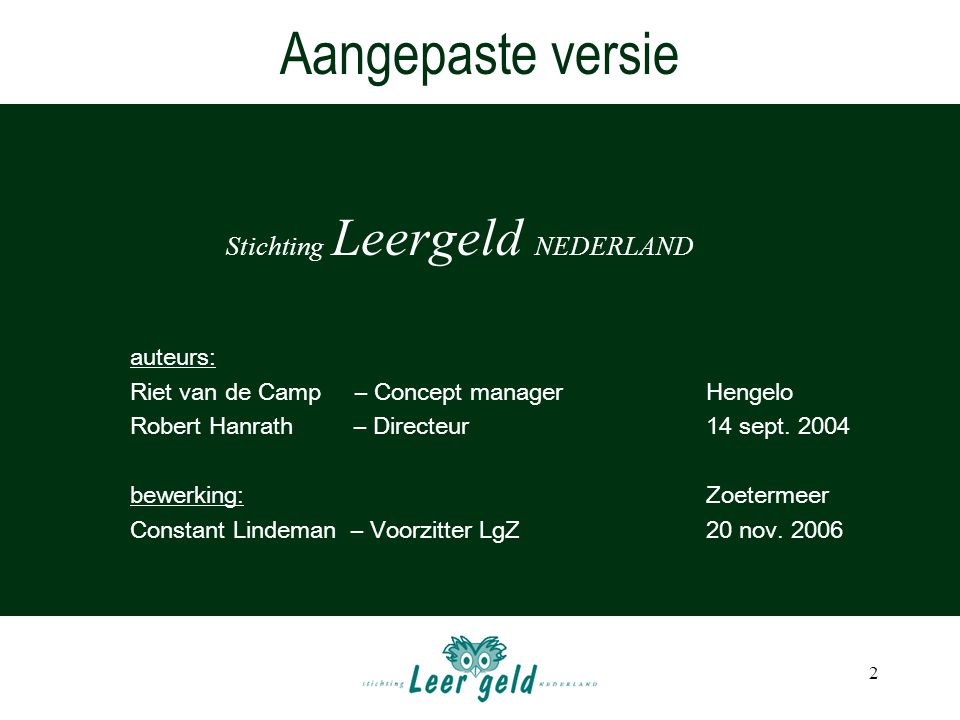 Aangepaste versie Stichting Leergeld NEDERLAND auteurs: