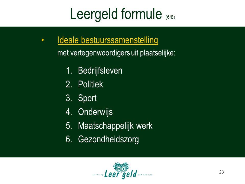 Leergeld formule (6/8) Ideale bestuurssamenstelling Bedrijfsleven
