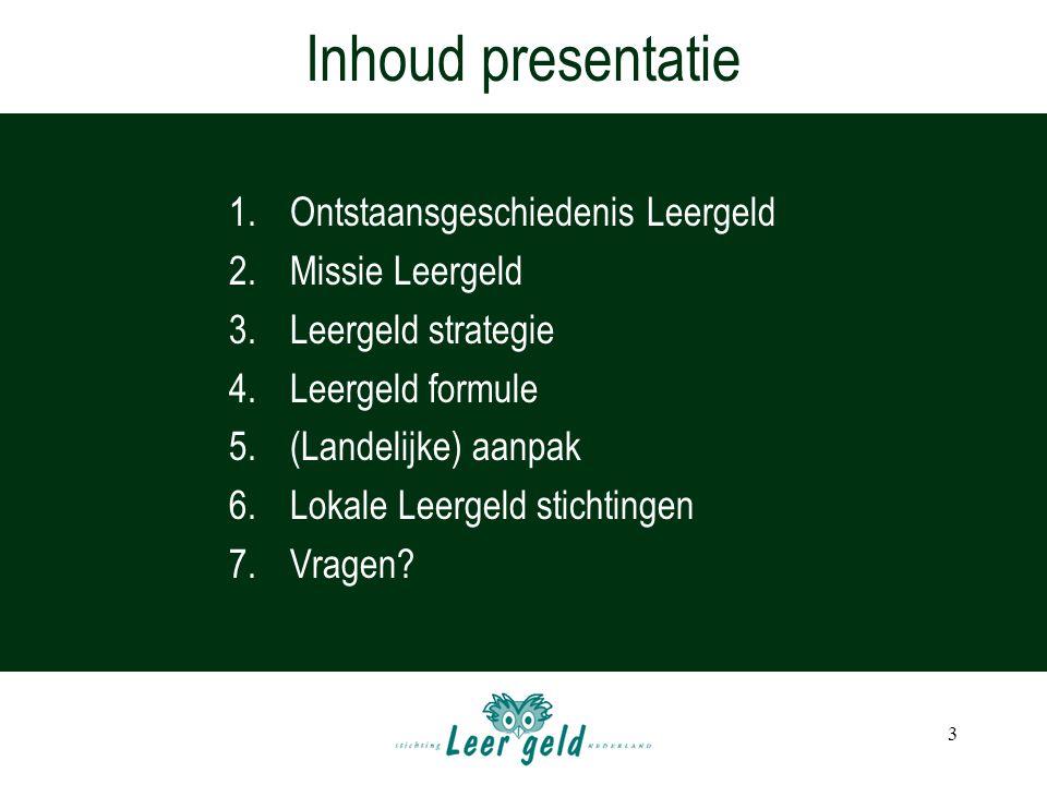 Inhoud presentatie Ontstaansgeschiedenis Leergeld Missie Leergeld