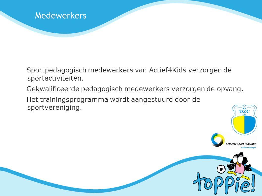Medewerkers Sportpedagogisch medewerkers van Actief4Kids verzorgen de sportactiviteiten.