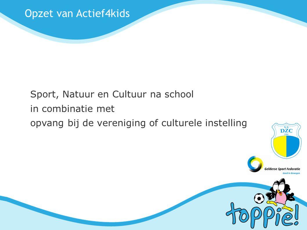 Opzet van Actief4kids Sport, Natuur en Cultuur na school