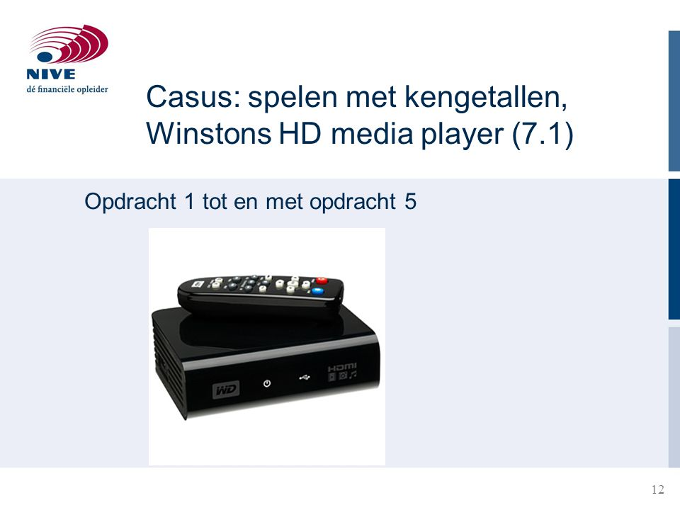 Casus: spelen met kengetallen, Winstons HD media player (7.1)