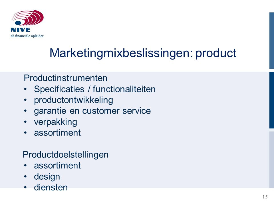 Marketingmixbeslissingen: product
