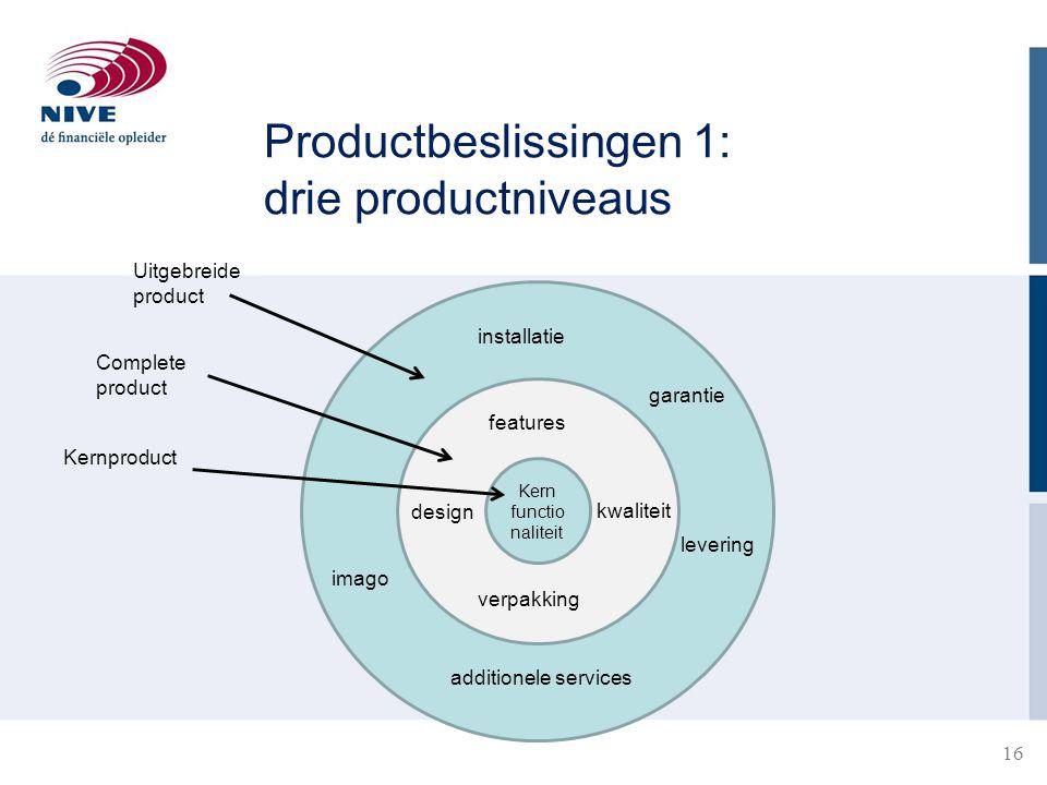 Productbeslissingen 1: drie productniveaus