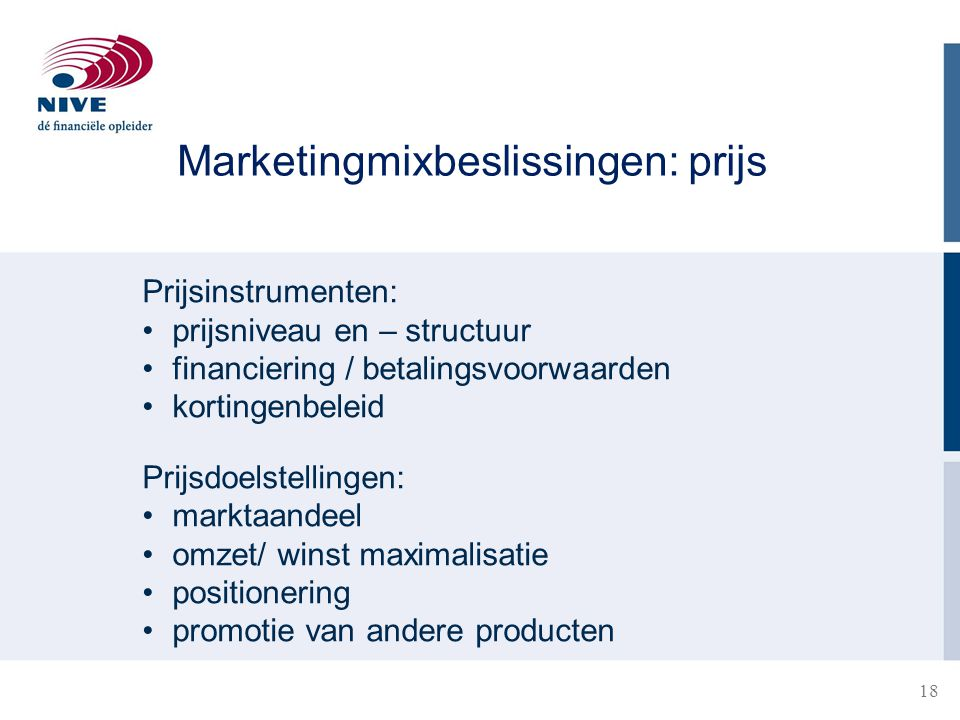 Marketingmixbeslissingen: prijs