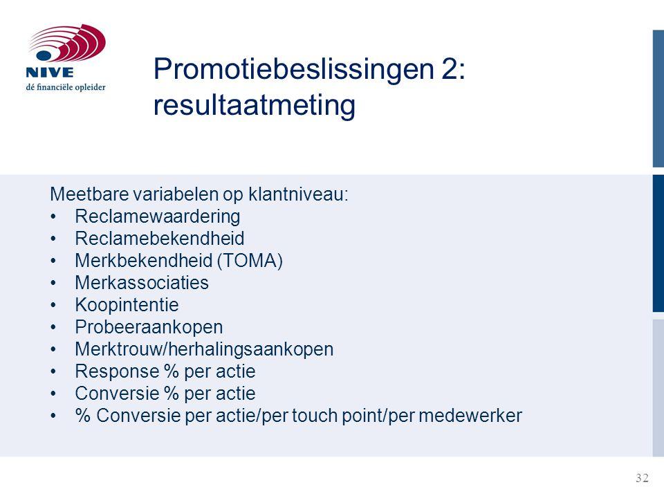 Promotiebeslissingen 2: resultaatmeting