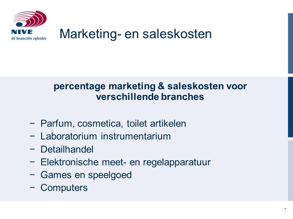 percentage marketing & saleskosten voor verschillende branches